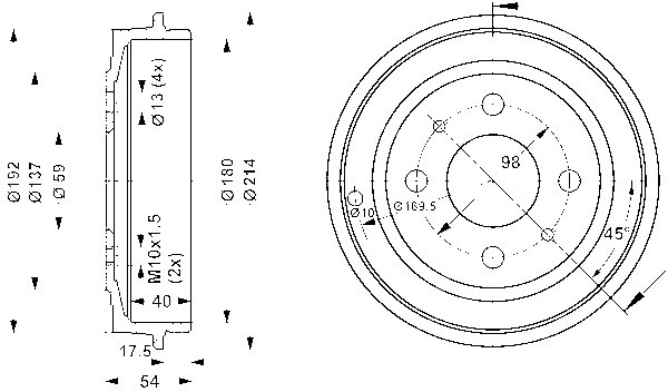ATEOriginal 2 Bremstrommeln Bremsbackensatz Topkit Vormontiert Hinten u.a.