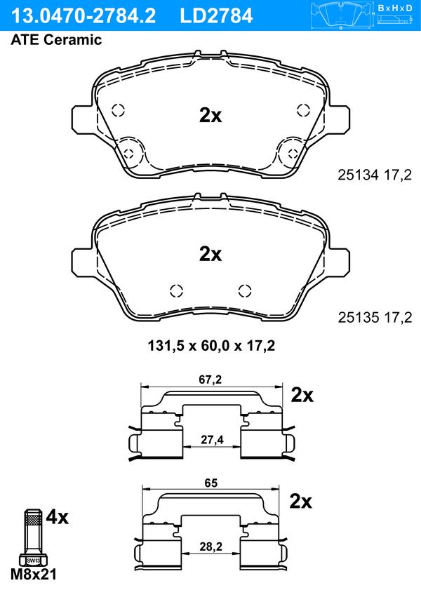 Bremsbelagsatz, Scheibenbremse 'ATE Ceramic'
